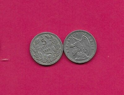 Chile Rep 5 Centavos 1928 Vf-Xf Defiant Condor On Rock Left,without O. Roty At B