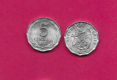 Chile Rep 5 Centavos 1976 Unc 12 Sided Coin,defiant Condor On Rock Left,denomina
