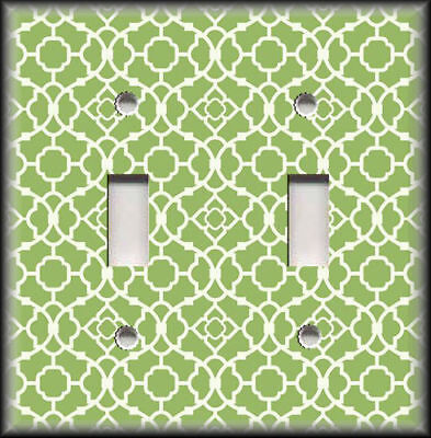 Metal Light Switch Plate Cover Lime Green Geometric Pattern Moroccan Design