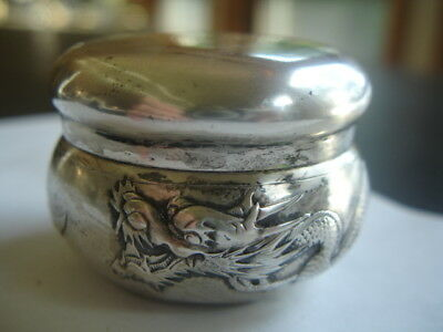 Antique Chinese Sterling Silver Box or Jar with High Relief Dragon 50.5 grams