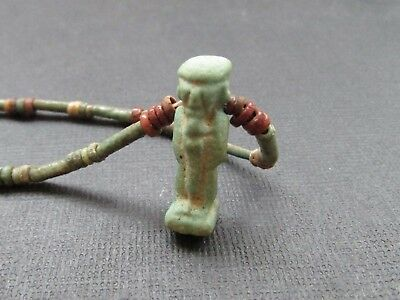 NILE  Ancient Egyptian Ptah Amulet Mummy Bead Necklace ca 600 BC