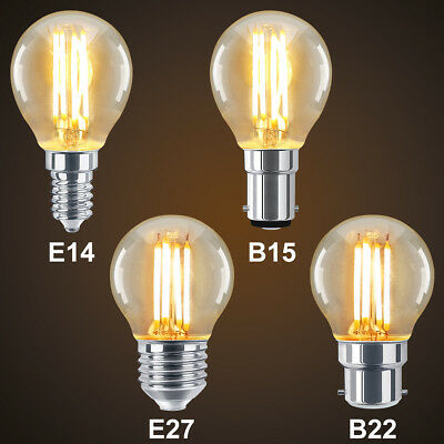 Retro Vintage LED Golf Ball Light Bulb E14 E27 B22 B15 Antique Edison Style