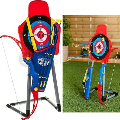 Kids Toy Bow & Arrow Archery Set And Target Stand Outdoor Garden Fun Game Gift