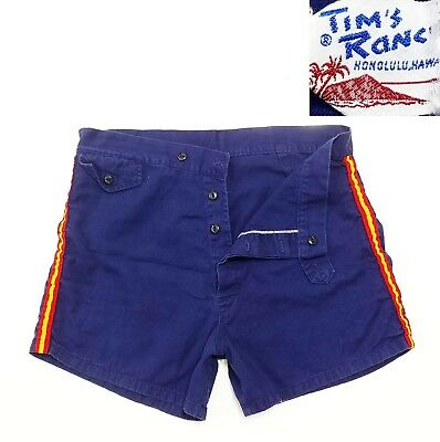Tims Ranch BUTTON Fly Beach HAWAII Shorts Vintage Vtg USA 50s 60s 70s Surf Skate