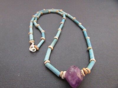 NILE  Ancient Egyptian Amethyst Amulet Mummy Bead Necklace ca 1000 BC