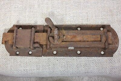 "House Shutter Latch vintage old rustic texture slide 8 7/8"" iron dated 1861 1860"