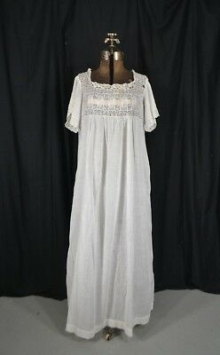 antique nightgown Victorian Edwardian cotton lace long short sleeve original 7df6745d1