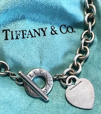 0ff079077 Tiffany & Co Sterling Silver Necklace Toggle Heart Tag 925 16