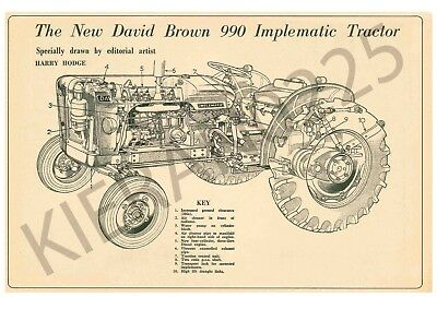 (A3) David Brown Case Poster Tractor 990 Implematic Cut Through