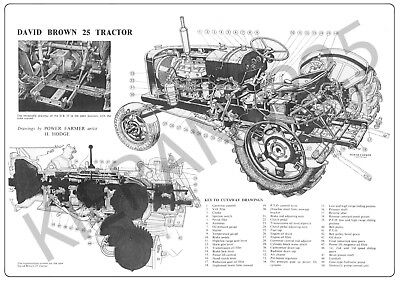 (A3) David Brown Case Poster Brochure Tractor '25' Cut-A-Way Drawing