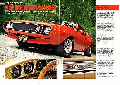 1972 Amc Amx Javelin Modified 401/330-Hp  ~  6-Page Muscle Car Article / Ad