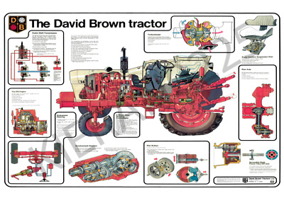 (A3) David Brown Case Poster Tractor and varoius parts cut through