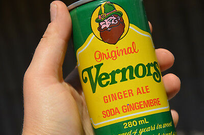 Vintage ORIGINAL 1970S VERNORS GINGER ALE Metal Soda Pop Can OPENED Woody Gnome