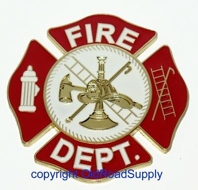 "Firefighter Firemen Red Gold Metal Auto Truck Grille Badge 3"" IN STOCK!"