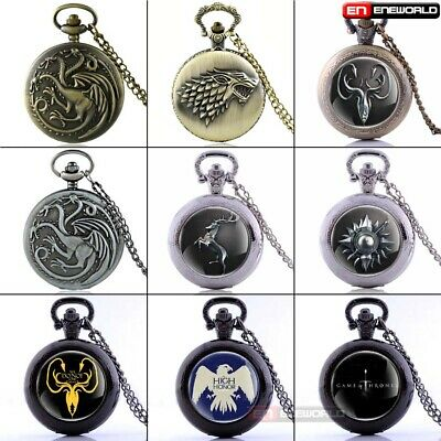 Vintage Game Of Thrones Pocket Watch Quartz Pendant Vintage Necklace Chain Gift