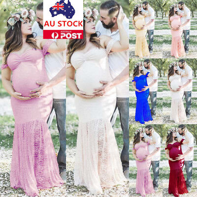 AU Pregnant Women Lace Off Shoulder Maxi Gown Dress Maternity Photography Props