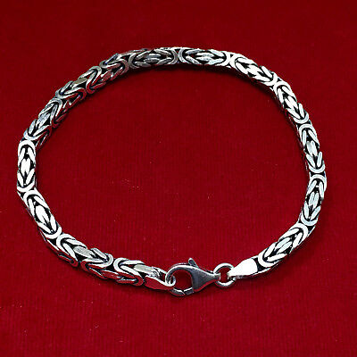 Sterling Silver Mens Heavy Solid Square Byzantine Chunky Bracelet Chain 8 inch