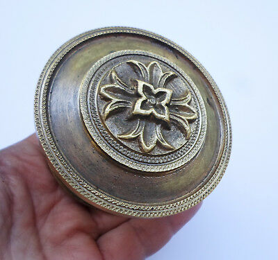 Vintage Solid Brass Door Push- Pull Handle with Backplate Floral Design
