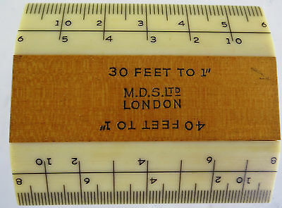 """M.D.S Ltd London Vintage 2"""" Scale Ruler (30' to 1"""" & 40' to 1"""")"""