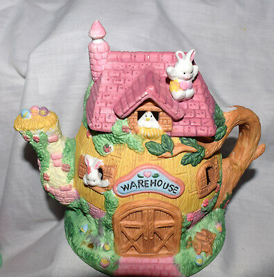 "Estate=Easter 5-1/2"" Tall Tea Pot Warehouse Pink  Roof Eggs in Spout LOOK"