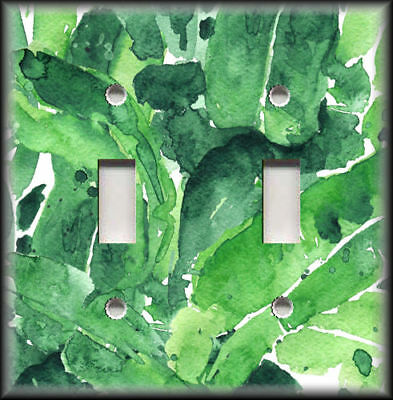 Metal Light Switch Plate Cover Green Painted Leaves Art Home Decor Tropical