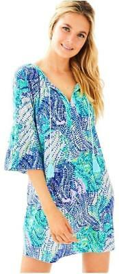a791328e78c Lilly Pulitzer $118 NWT Del Lago Tunic Dress BLUE CURRENT FANTASEA XL XLARGE