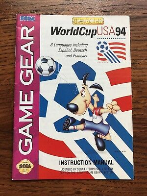 World Cup USA 94 Soccer 1994 Sega Game Gear Instruction Manual Only