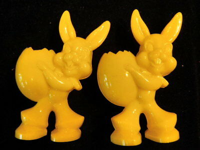 Vintage Hard Plastic Candy Holder Yellow Easter Bunny Egg Nut Cup 2pc Lot    S93