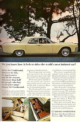 1964 Lincoln Continental Car Automobile Print Advertisement Ad Vintage VTG 60s