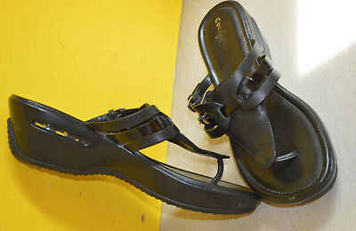 5c698477da3 COLE HAAN Womens AIR MELISSA Black Leather Thong Sandals Size 9 1 2 B NICE