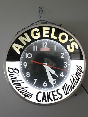 Vintage Glo-Dial Clock Bakery Fluorescent Large Size Modern Clock Co. Brooklyn