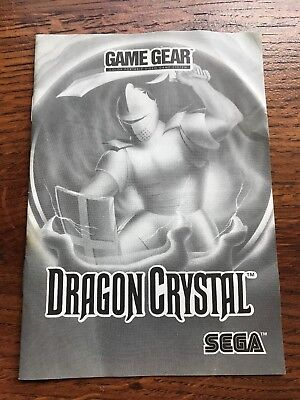 Dragon Crystal Sega Game Gear Instruction Manual Only