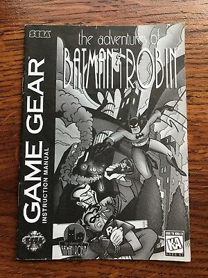 Adventures of Batman & Robin Sega Game Gear Instruction Manual Only
