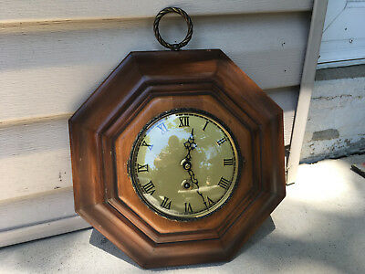 Vintage 1957 Danbury Clock Company Time Only Walnut Octagonal Case Wall Clock