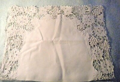 """Vintage Hand Made Lace Table Runner Leaf and Grape Pattern 29 1/2"""" X 18 1/2"""""""