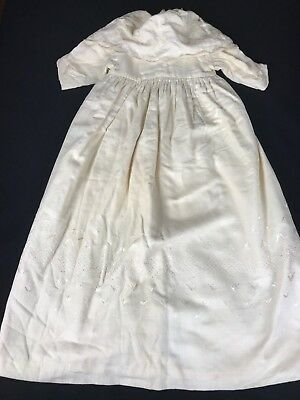Antique/vintage Victorian Era Ivory/off White Baby Coat With Embroidery