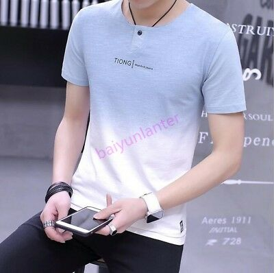 Mens Round Neck Short Sleeve Tops Casual SLim Fit Tees Fashion T Shirt Hot Sale
