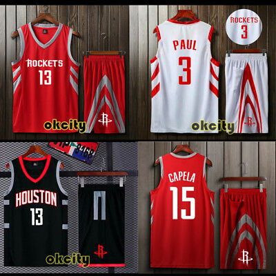 Top & Shorts Houston Rockets NBA Jersey Adult Kid Men Child Set Black Red Outfit