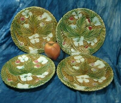 Antique lot of 4 French majolica plates pottery strawberry , very nice