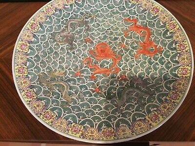 "Antique Chinese porcelain 18"" charger plate Republican period seal mark SUPER"