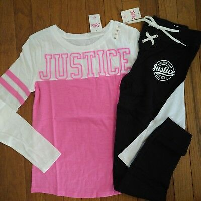 NWT Justice Girls Outfit Logo Football Tee/Logo Lace Up Joggers Size 10 12 14