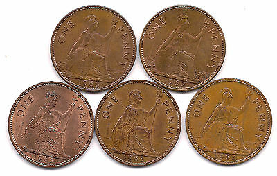 1962,1963,1965,1966,1967 Great Britain Pennies--Strong Details !!