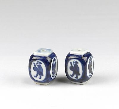 Fine Pair 20thC Chinese / Japanese Blue & White Porcelain Hanging Scroll Weights