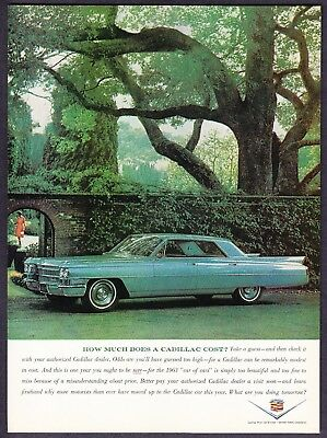 """1963 Cadillac Deville 4-door Sedan photo """"What Does It Cost?"""" vintage print ad"""