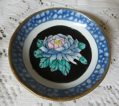 "Vintage 4""  Floral Porcelain & Brass Decorative Wall Hanging Plate Made In China"