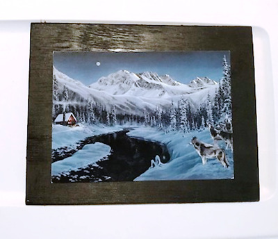 Wolf stream wolves cabin winter Lodge wildlife Country decor wooden sign 7x9""