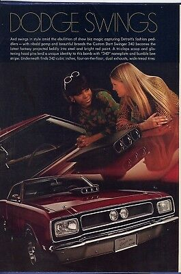 RF1521 1969 Dodge Custom Swinger 340 Vtg Magazine Ad Advertisement