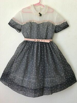 Vintage 50s Girls Frilly Sheer Gray With Pink Hearts Pageant Party Church Dress