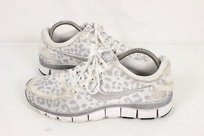 check out 95037 b2d99 Nike Free 5.0 Womens White Grey Leopard Athletic Running Shoes Size 8.5