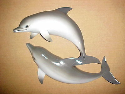 "12"" Double DOLPHIN Wall Hanging Decor Tropical Bath Beach Ocean Aquatic Porpoise"